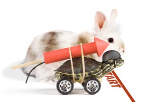 Image of turtle with rocket strapped to back racing a rabbit